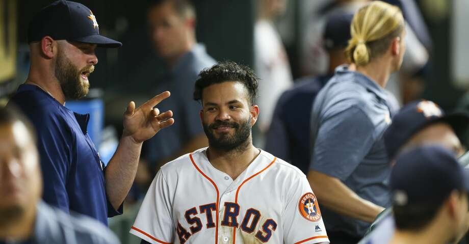 Houston Astros second baseman Jose Altuve (27) smiles in the dugout during a break in the seventh inning of an MLB game at Minute Maid Park, Wednesday, June 6, 2018, in Houston.  ( Mark Mulligan / Houston Chronicle ) Photo: Mark Mulligan/Houston Chronicle