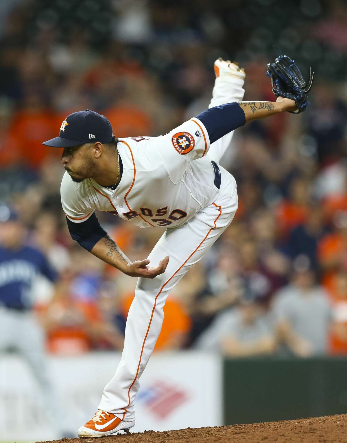 Houston Astros relief pitcher Hector Rondon (30) pitches during the ninth inning of a 7-5 win for the Astros at Minute Maid Park, Wednesday, June 6, 2018, in Houston. ( Mark Mulligan / Houston Chronicle )