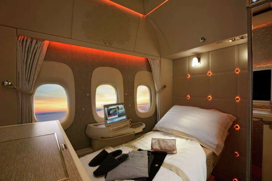 Fake windows in the first class suite on an Emirates 777-300ER (Image: Emirates) Photo: Emirates