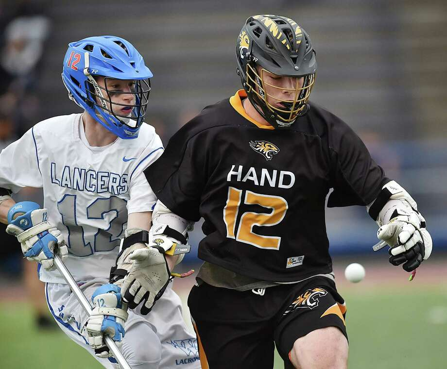Hand defeats Waterford, 15-5, in the CIAC Class M semifinal lacrosse game, Wednesday, June 6, 2018, at Ken Strong Stadium at West Haven High School. Photo: Catherine Avalone, Hearst Connecticut Media / New Haven Register