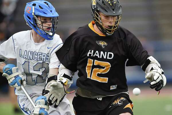 Hand defeats Waterford, 15-5, in the CIAC Class M semifinal lacrosse game, Wednesday, June 6, 2018, at Ken Strong Stadium at West Haven High School.