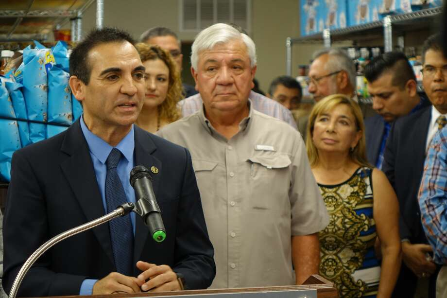 District 8 Council Member Roberto Balli speaks during the grand opening of Joseph's Store House near Jarvis Plaza in downtown Laredo. Photo: City Of Laredo