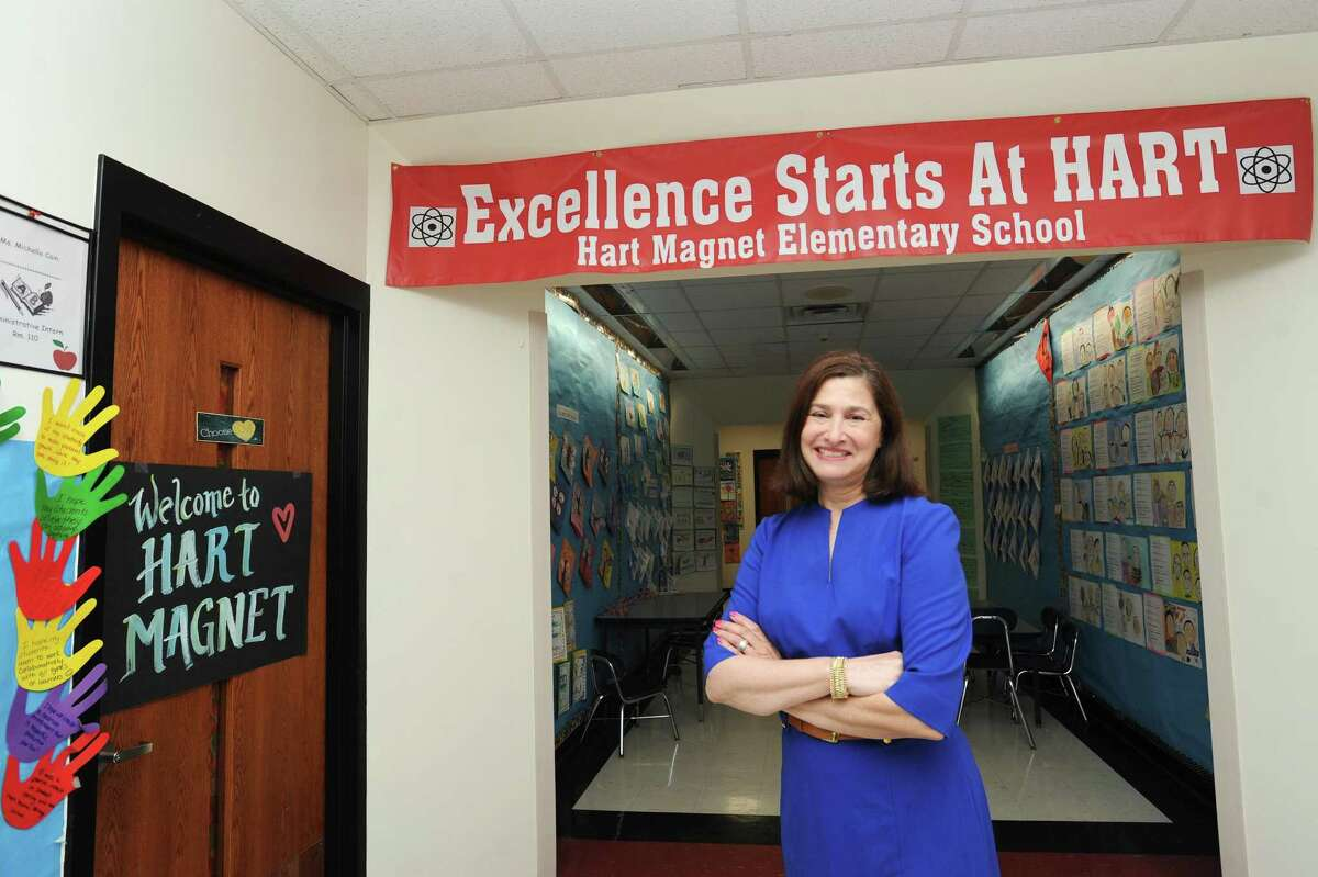 Hart Magnet Elementary School principal Linda Darling poses for a photo inside the Adams Ave. school in Stamford, Conn. on Tuesday, June 5, 2018. Darlin was one of six administrators statewide to receive the administrator of the year away from the Connecticut Association of School Administrators.