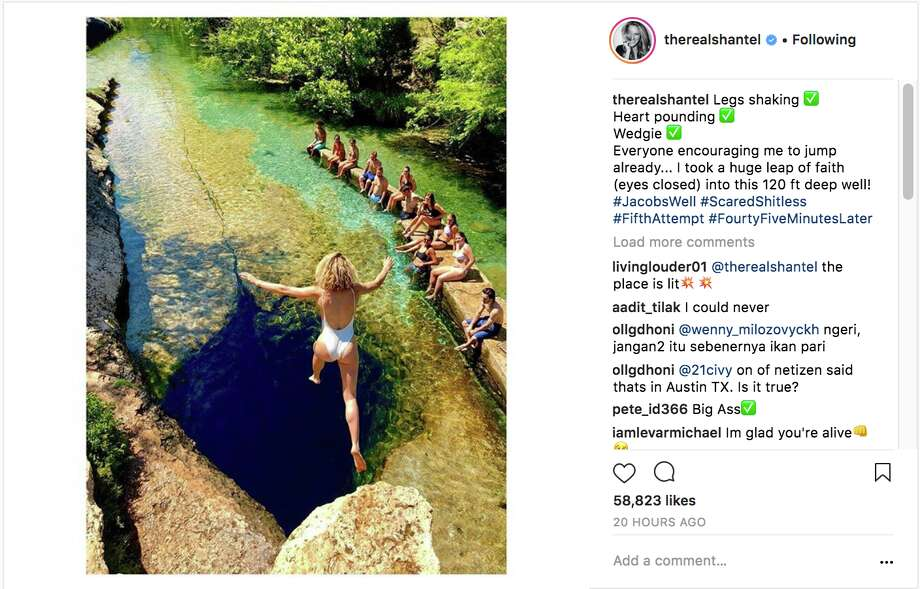 One Tree Hill star Shantel VanSanten visits Central Texas, jumps into Jacob's Well. Photo: Instagram/@therealshantel