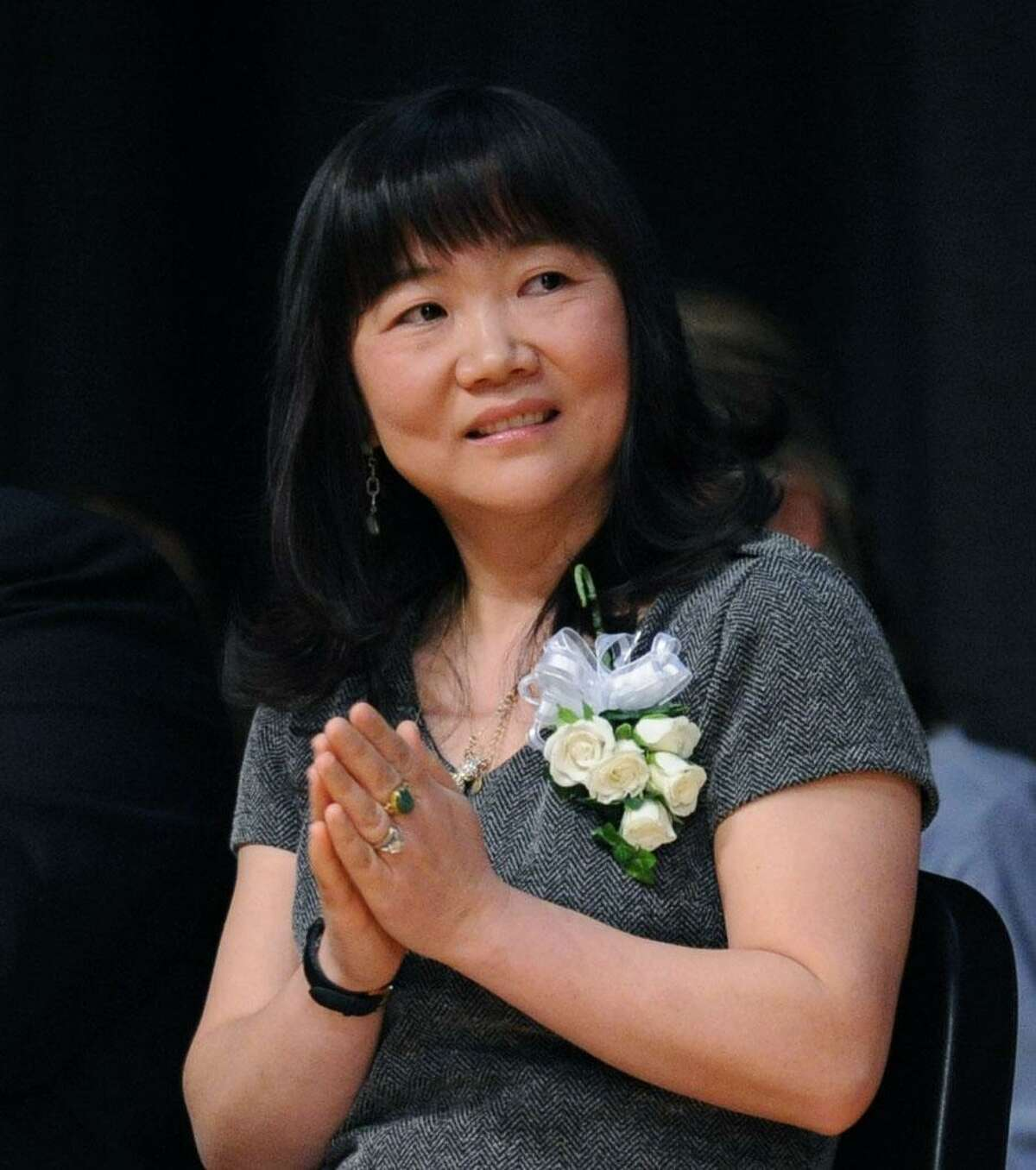 Greenwich Public Schools Distinguished Teachers award winner, Lin Yuan Young, a Greenwich High School Mandarin Chinese teacher, during the ceremony at Central Middle School in Greenwich, Tuesday, May, 6, 2014.