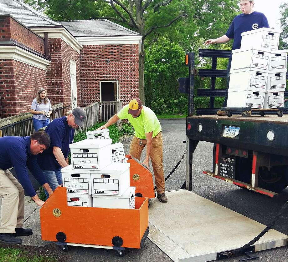Public Works employees deliver food and household goods collected during National Public Works Week to Operation Hope. Fairfield,CT. 6/5/18 Photo: Contributed / Contributed Photo / Fairfield Citizen
