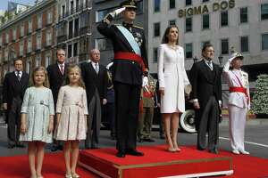 (FILES) In this file photo taken on June 19, 2014 Spanish Princess Sofia, Spanish Crown Princess of Asturias Leonor, Spain's King Felipe VI and Spain's Queen Letizia, Spanish Prime Minister Mariano Rajoy and Head of armed forces Admiral Fernando Garcia Sanchez pose on arrival at the Congress of Deputies, Spain's lower House in Madrid for a swearing in ceremony of Spain's new King before both houses of parliament.  Spain's parliament ousted on June 1, 2018 Prime Minister Mariano Rajoy in a no-confidence vote sparked by fury over his party's corruption woes, with his Socialist arch-rival Pedro Sanchez automatically taking over. / AFP PHOTO / POOL / SERGIO BARRENECHEASERGIO BARRENECHEA/AFP/Getty Images