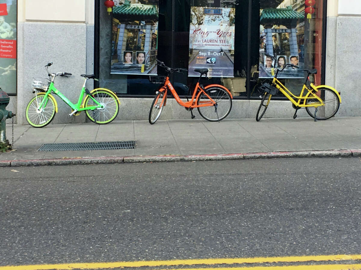 Dockless bike shares are here to stay -- though not all the bikes in this photo are staying.