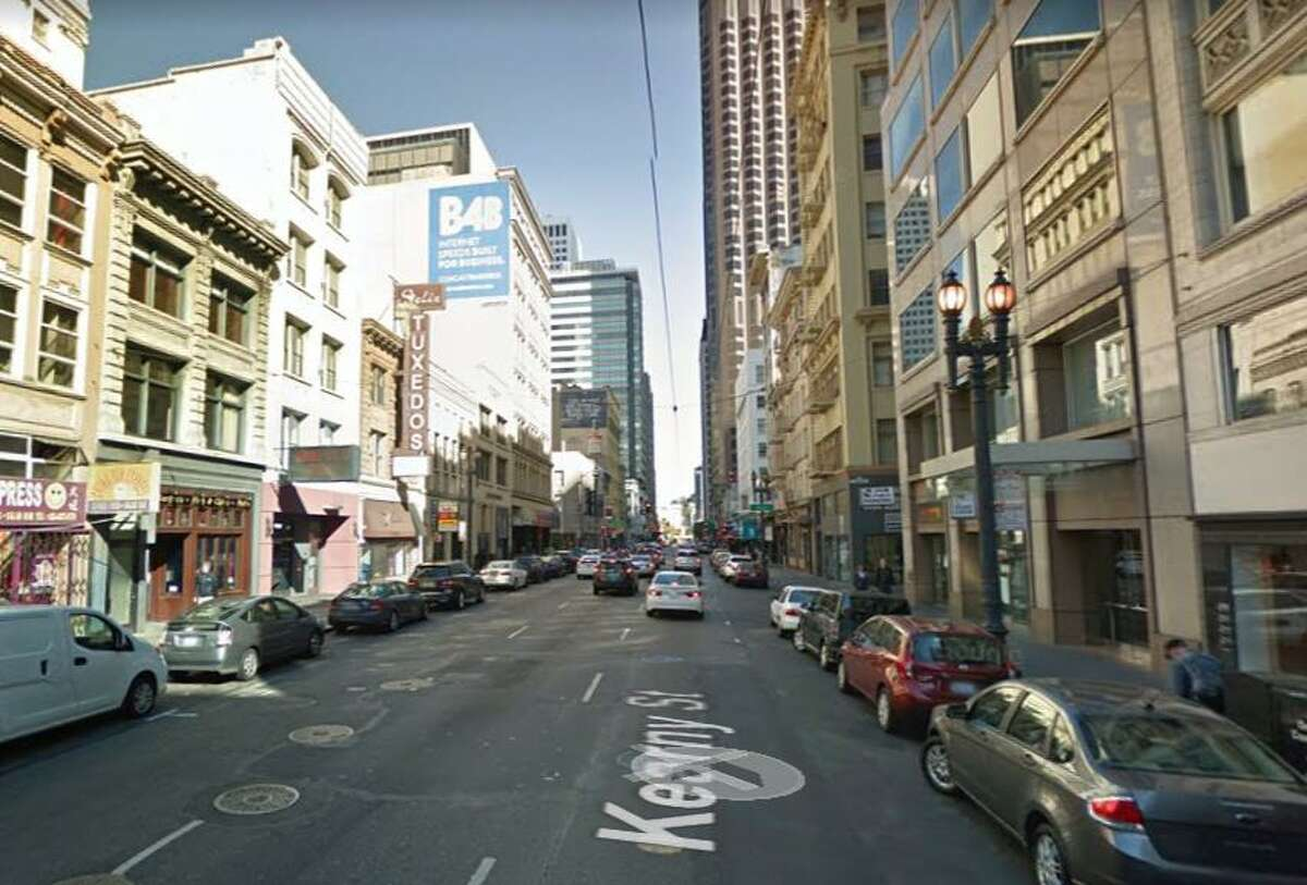 A Google street view image shows the 200 block of Kearny Street in San Francisco where police said a sex worker beat and robbed her 78-year-old John with a 'hard object' in a sock.