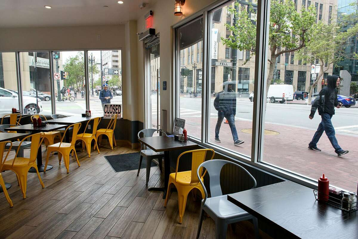 Pedestrians walk past at Marvelous Coffee Bar and Little Griddle on Market St. in San Francisco, Calif., on Thursday May 24, 2018.