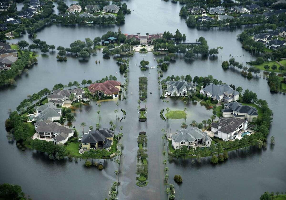 Flood waters rise Lakes on Eldridge North neighborhood near the Addicks Reservoir West Houston, Texas on Wednesday, Aug. 30, 2017. (Tom Fox/Dallas Morning News/TNS)