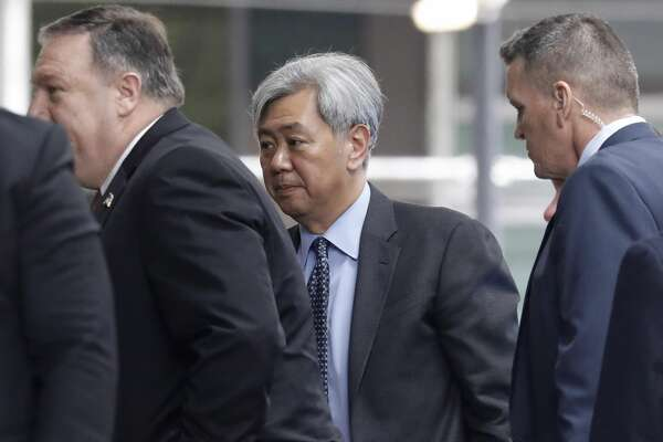 Andrew Kim, head of the Korean desk at the Central Intelligence Agency (CIA), center, arrives for a meeting with Mike Pompeo, U.S. secretary of state, and North Korea's Kim Yong Chol, not pictured, in New York, U.S., on Thursday, May 31, 2018. President Donald Trump said a North Korean delegation will probably come to Washington on Friday to deliver a letter from leader Kim Jong Un, as Pompeo held talks in New York with one of Kim's most trusted aides over a potential summit next month.