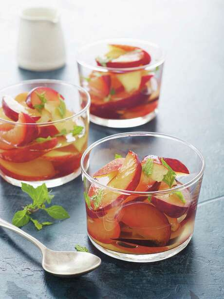 """Stone Fruit with Ginger-Lime Syrup & Fresh Mint from """"Once Upon a Chef"""" by Jennifer Segal Photo: Alexandra Grablewski / Chronicle Books"""