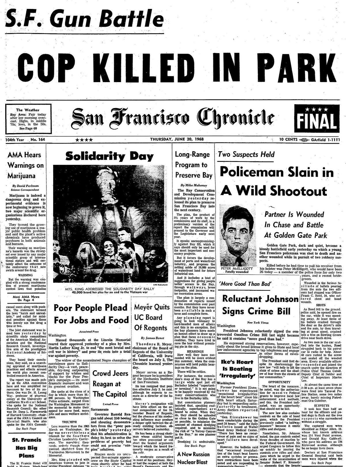 Chronicle June 20, 11968 front page reporting on gun battle in Golden Gate Park Police officer Peter McElligott was killed
