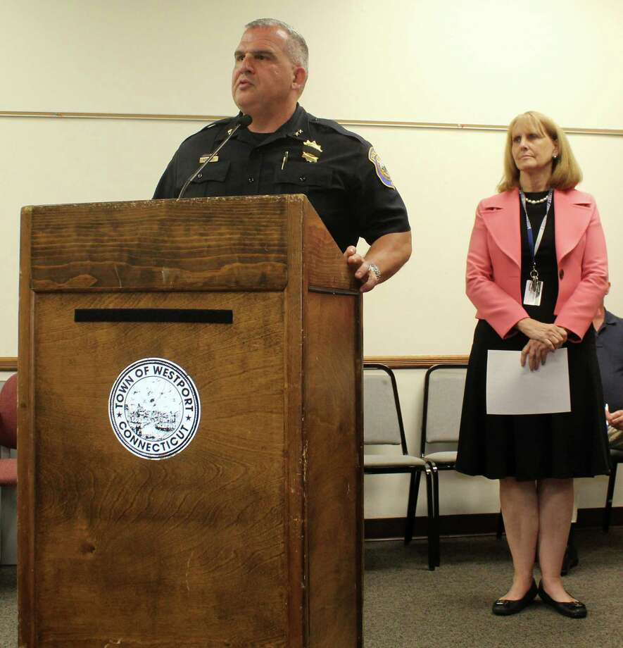 Westport Chief of Police Foti Koskinas spoke about school security at the June 6 meeting of the Board of Finance in Westport Town Hall. Westport Chief School Superintendent (behind) proposed the addition of three school resource officers for the coming school years with support from Chief Koskinas. Photo: Sophie Vaughan / Hearst Connecticut Media / Westport News