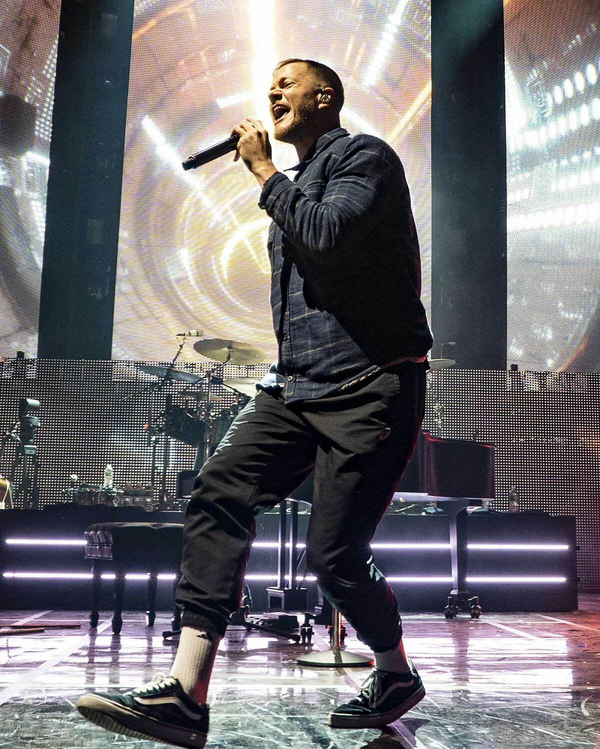 The American pop rock band Imagine Dragons with lead vocalist Dan Reynolds performs at the Xfinity Center, Wednesday, June 6, 2018, in Mansfield, Mass. (Photo by Robert E. Klein/Invision/AP)