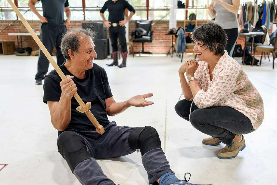 """Emilio Delgado speaks with director KJ Sanchez during a rehearsal for """"Quixote Nuevo,"""" based on """"Don Quixote"""" by Cervantes. The new play will will be presented by California Shakespeare Theater in Orinda. Photo: Michael Short / Special To The Chronicle"""