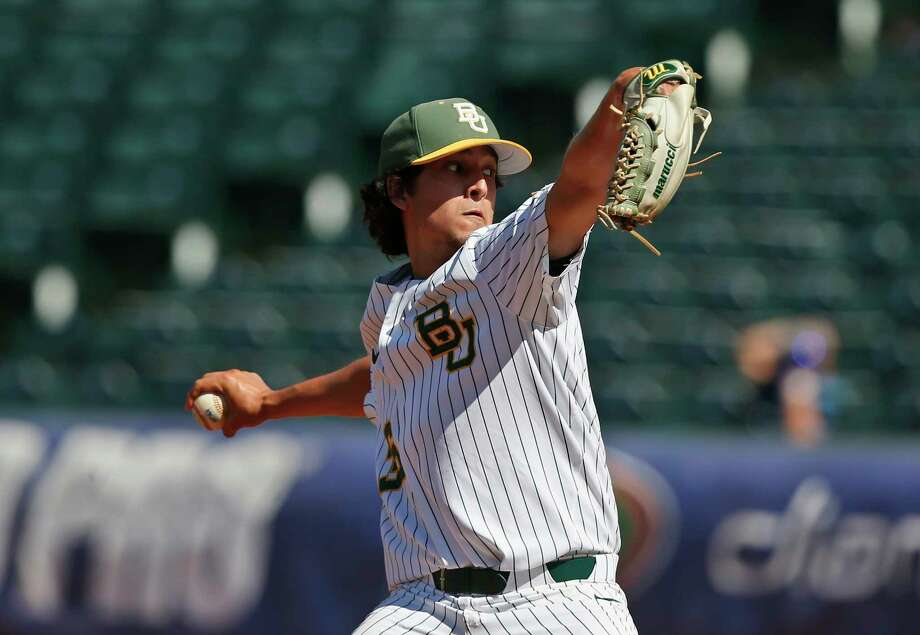 Baylor pitcher Troy Montemayor (36) pitches during the championship game of the Big 12 baseball tournament game between TCU and Baylor in Oklahoma City, Sunday, May 27, 2018. Baylor won 6-5 in eleven innings. (AP Photo/Sue Ogrocki) Photo: Sue Ogrocki, Associated Press / AP2018