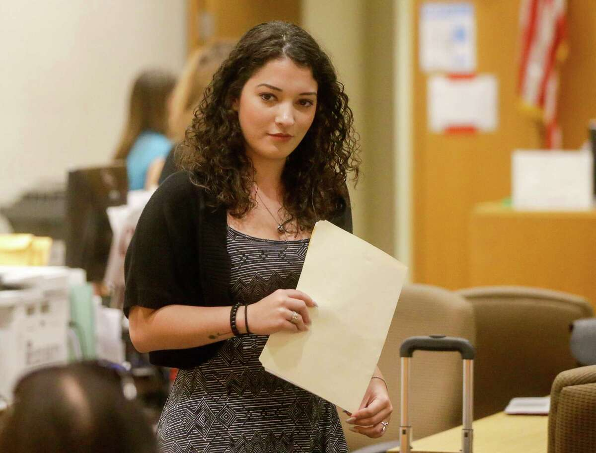 Elizabeth Nichols, 22, is shown in court Thursday, June 7, 2018 in Houston. Accused of drunkenly driving on the wrong side of the freeway Wednesday morning, she has been charged with driving while intoxicated, a misdemeanor, and possession of cocaine, a felony.( Melissa Phillip / Houston Chronicle )