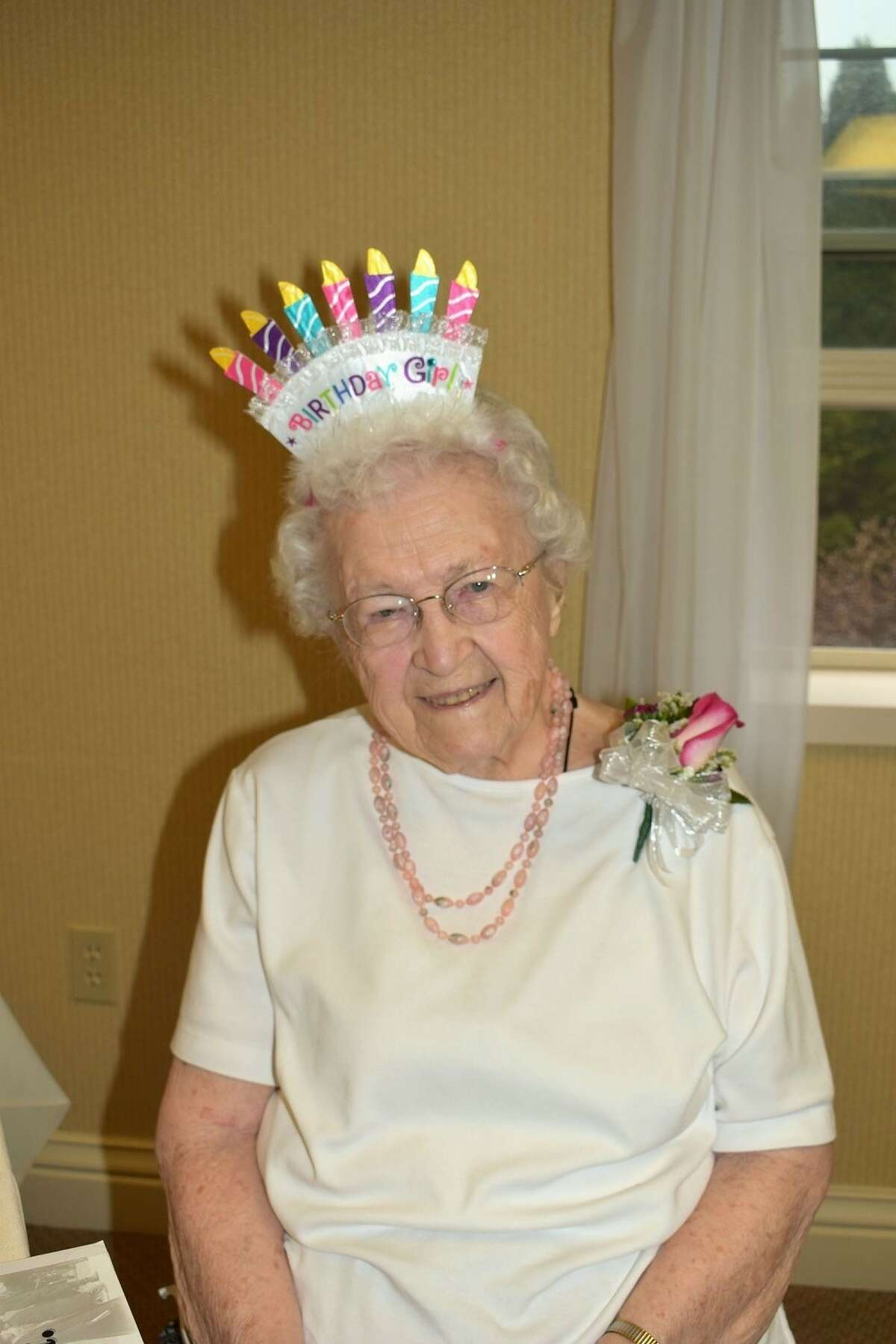 Genevieve Kelly of Albany celebrated her 100th birthday on April 27 with her children, grandchildren and great grandchildren. The new centenarian lives at the Atria Assisted Living Facility in Albany. She has two children, seven grandchildren, 12 great grandchildren, four step-grandchildren, eight step-great grandchildren and five step-great-great grandchildren. She was a mortgage originator at Home and City Savings Bank and lived in Albany for many years with her husband, Charles. After his death, she moved to Colonie. She is an avid reader and enjoys going out to lunch and dinner.