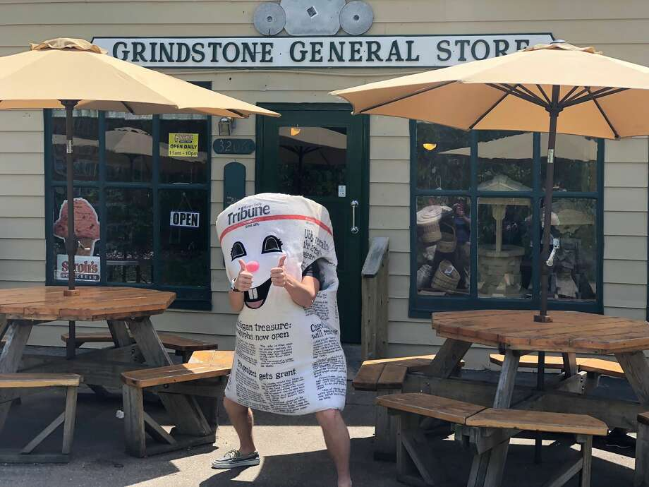 Dale E. Tribune was spotted at the Grindstone General Store on Thursday enjoying a delicious, and overwhelmingly-sized ice cream cone. Photo: Kate Hessling/Huron Daily Tribune