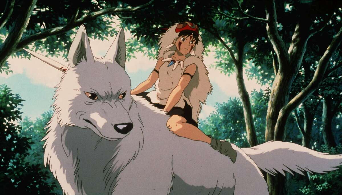 PRINCESS MONONOKE. HOUCHRON CAPTION (11/05/1999): Gillian Anderson is the voice of the wolf god Moro while Claire Danes is San.