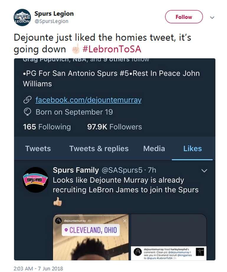 @SpursLegion:  Dejounte just liked the homies tweet, it's going down ☝ Photo: Twitter Screengrabs