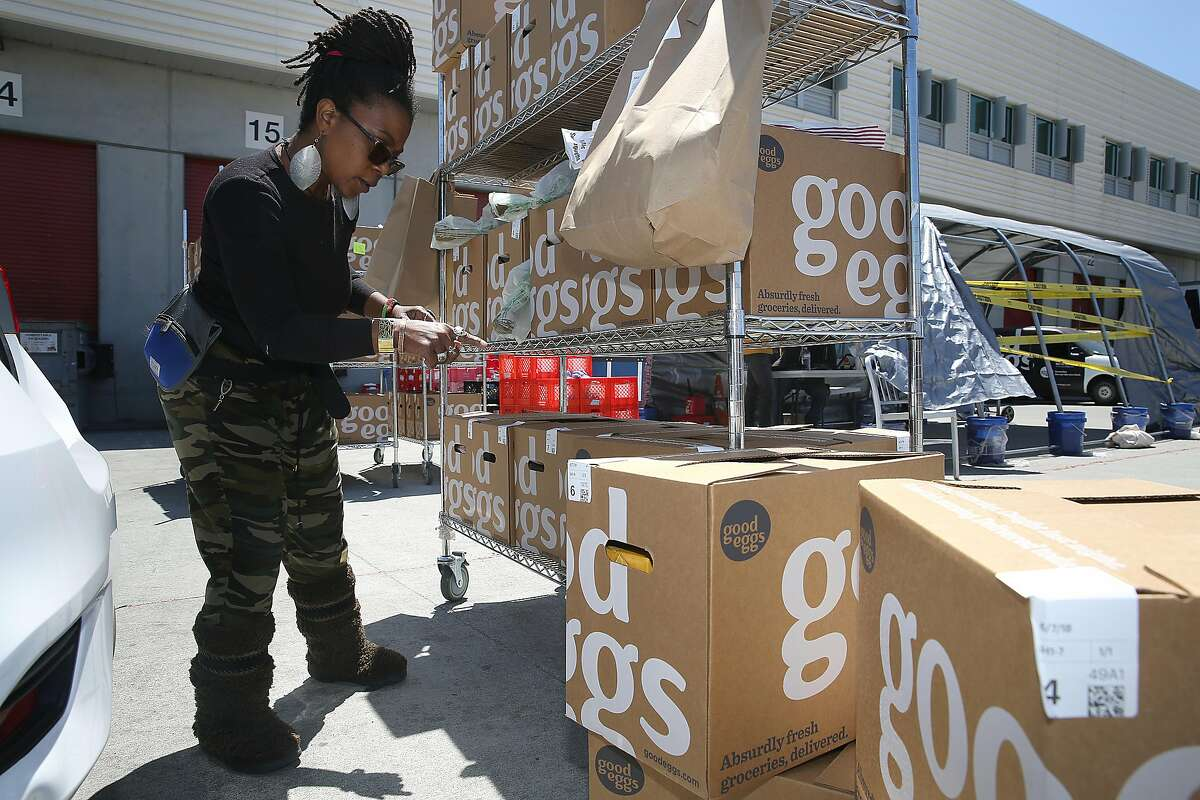Good Eggs driver Shawanda Scott works at Good Eggs warehouse on Thursday, June 7, 2018 in San Francisco, Calif. She worked three months at Wonolo before taking the job at Good Eggs. San Francisco�s Wonolo offers on-demand staffing for blue-collar jobs in warehouses, factories and food service.