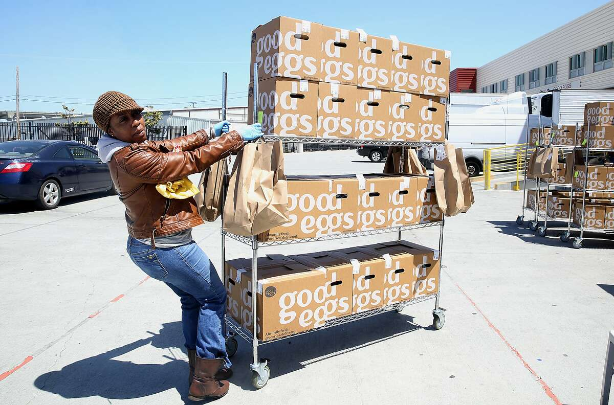 Delivery supervisor JamilaBrown at Good Eggs warehouse on Thursday, June 7, 2018 in San Francisco, Calif. Jamilaworks with Wonolo since May of 2015 picking up jobs at Good Eggs., and has been working for Good Eggs since May of 2016. She also picks up extra work through Wonolo. San Francisco's Wonolo offers on-demand staffing for blue-collar jobs in warehouses, factories and food service.