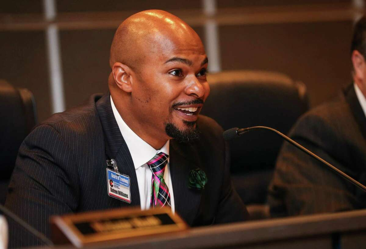 Conroe ISD Board President Datren Williams said he was surprised and disappointed at both the outcome and the low voter turnout in the Conroe ISD bond election. Here, Williams speaks during the Conroe Independent School District Board of Trustees meeting on Tuesday, March 20, 2018, at the CISD Administration Building.