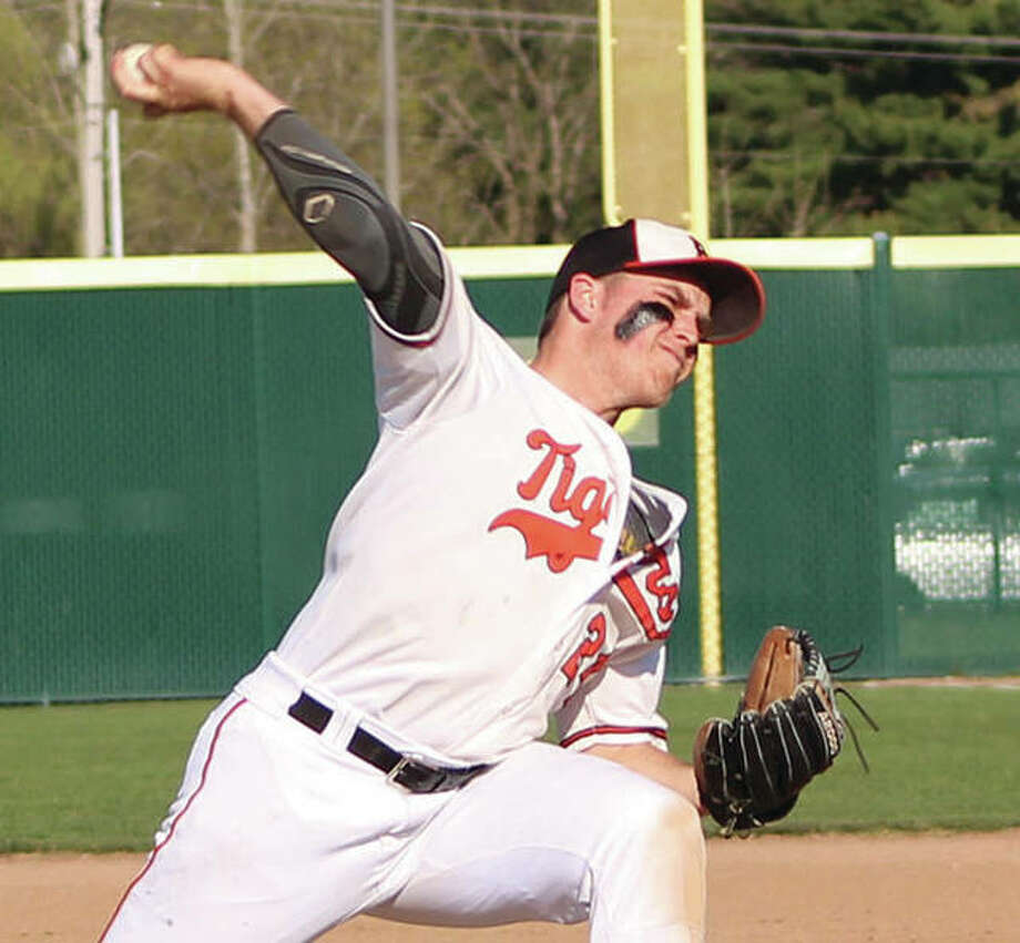 Edwardsville's Reid Hendrickson posted a 6-1 record with a 1.75 ERA for the Tigers in the spring and is expected to provide quality innings in his first legion season with Edwardsville Post 199 this summer. Photo:       Greg Shashack | The Telegraph