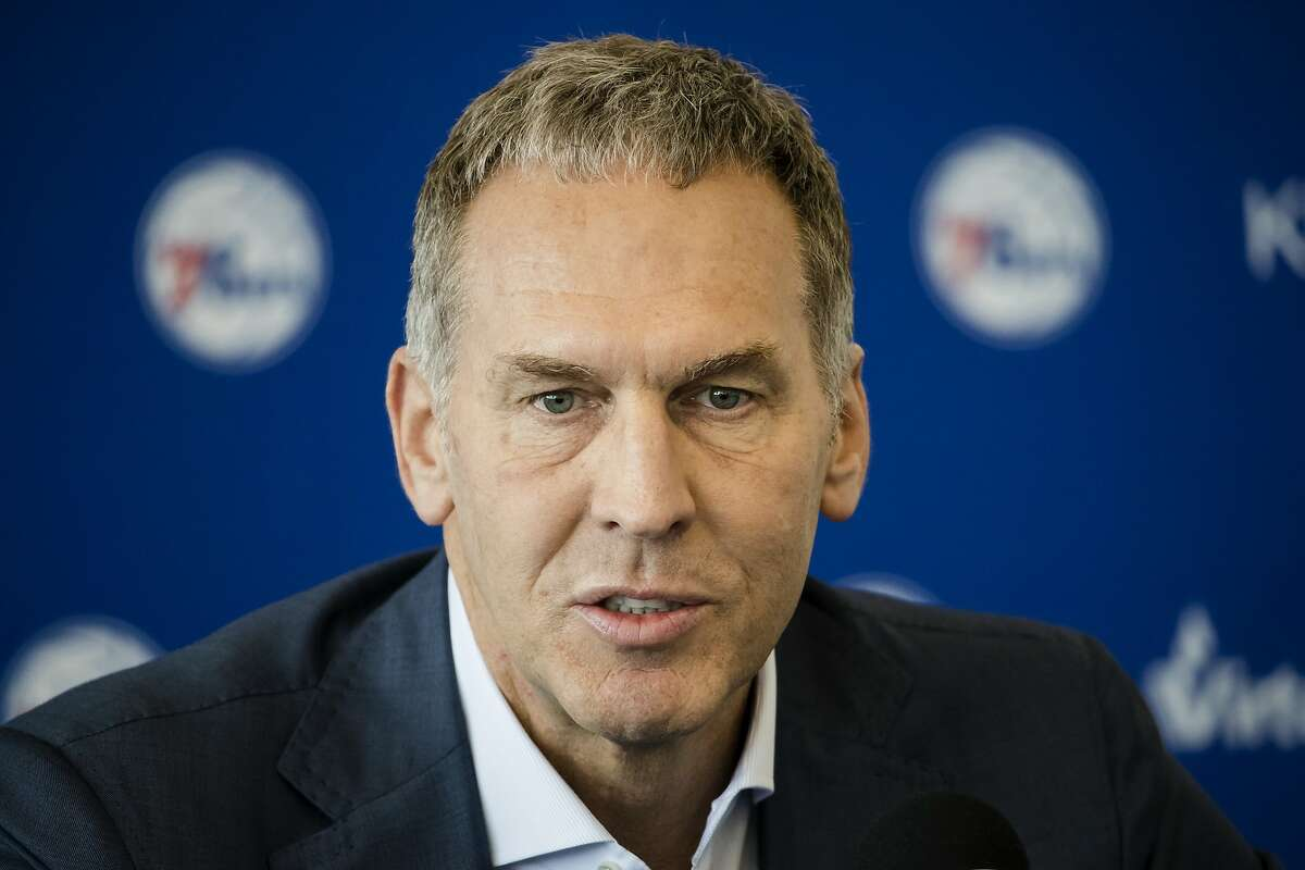 FILE - In this May 11, 2018, file photo, Philadelphia 76ers President of Basketball Operations Bryan Colangelo speaks with members of the media during a news conference at the NBA basketball team's practice facility in Camden, N.J. The Philadelphia 76ers say Bryan Colangelo has resigned as president of basketball operations after an independent firm investigated allegations that he used a variety of Twitter accounts to anonymously trash some of his own players and fellow executives and defend himself against criticism from fans and the sports media. The team says Thursday, June 7, 2018, that Colangelo offered his resignation