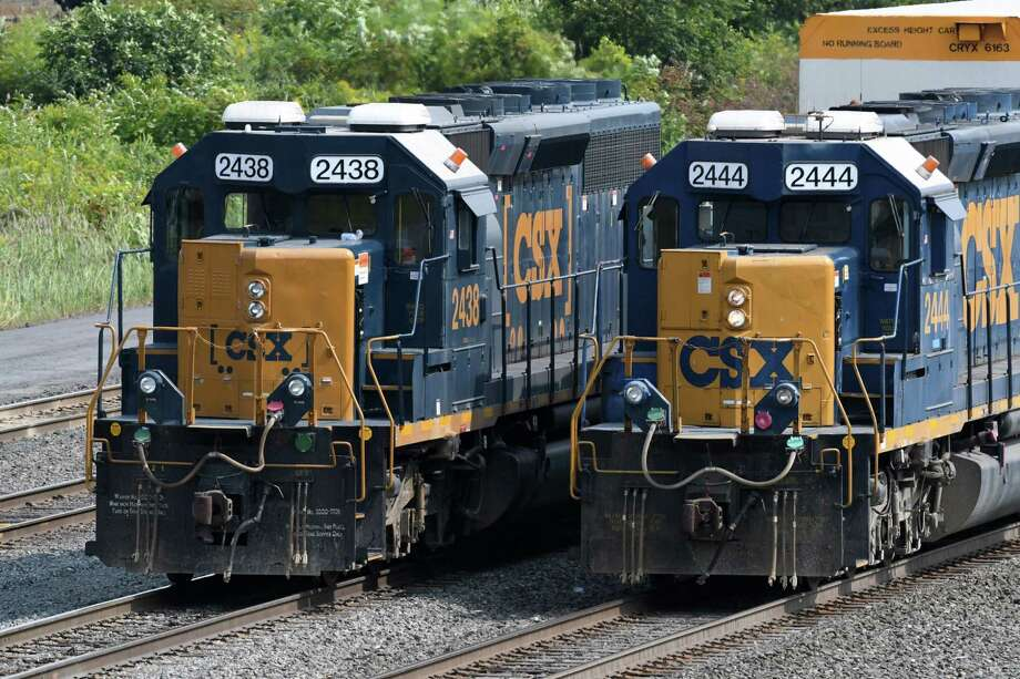 CSX trains move freight through the Selkirk CSX railyard near Feura Bush Road on Thursday, Aug. 31, 2017, in Feura Bush, N.Y. CSX said this week it is marketing several ?non-core? properties, including a rail line between Rensselaer and South Troy and another that runs from its main east-west line through West Albany. (Will Waldron/Times Union archive) Photo: Will Waldron