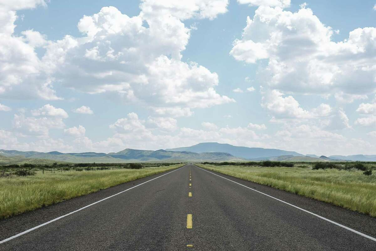 The road leading to Marfa, an artist hub in the middle of the West Texas desert.