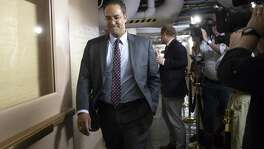 Rep. Will Hurd, R-Texas, whose congressional district runs along the majority of Texas's border with Mexico, arrives for a closed-door GOP meeting in the basement of the Capitol as the Republican leadership tries to reach a policy agreement between conservatives and moderates on immigration, in Washington, Thursday, June 7, 2018. (AP Photo/J. Scott Applewhite)