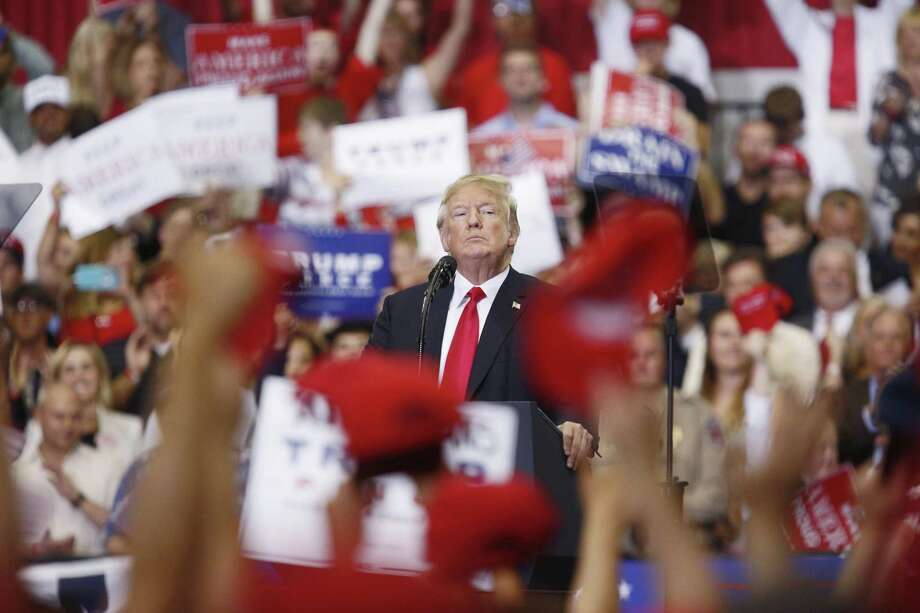 """President Donald Trump pauses while delivering a speech onstage at a rally in Nashville, Tennessee on May 29. Media need to focus on """"why"""" he may be saying what he does, namely, to take our eyes off the end goal of preserving his presidency by circumventing truth and undermining our democratic values and institutions. Photo: Luke Sharrett /Bloomberg / © 2018 Bloomberg Finance LP"""