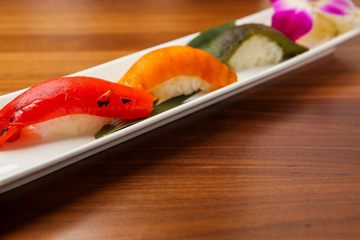 Nigiri Bell Peppers from the Shizen Vegan Sushi Bar & Izakaya Japanese restaurant, Tuesday, Feb. 10, 2015, in San Francisco, Calif.