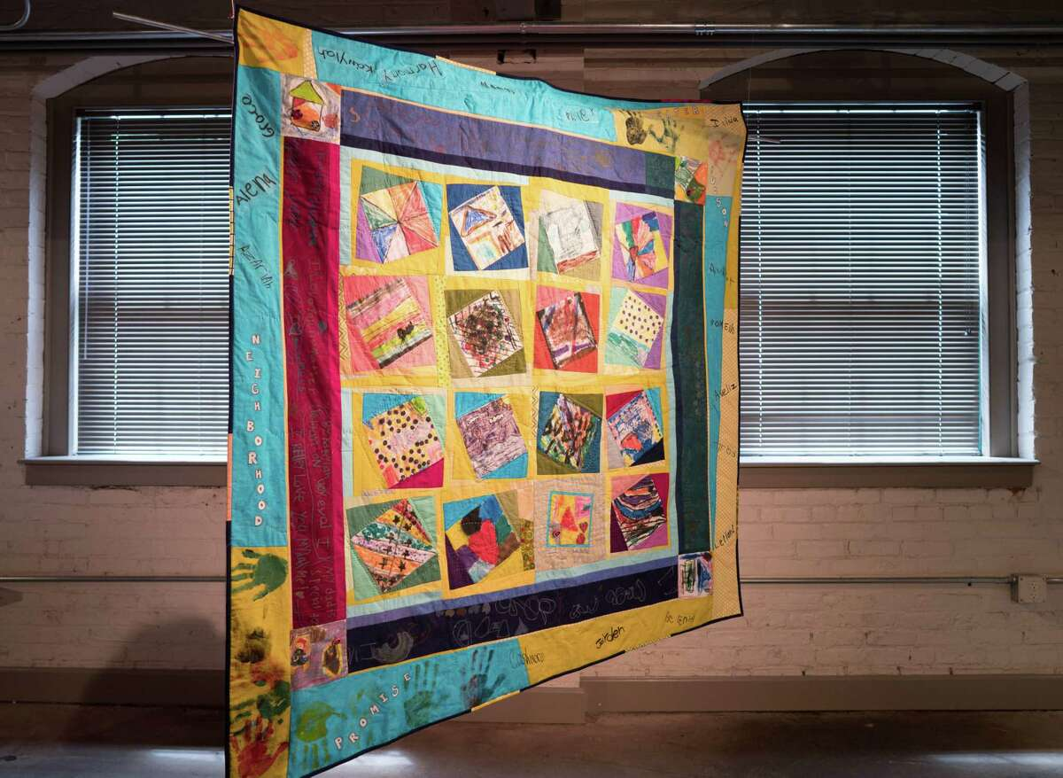 """Melissa Sarris, """"Sewn Together,"""" in collaboration with children from the Greater Hudson Promise Neighborhood. 2017, cotton fabrics. (Photo by William Yaeger)"""