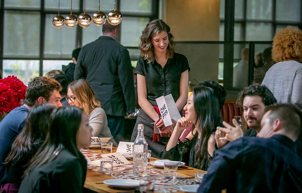 People have dinner at Che Fico in San Francisco, Calif. on May 18th, 2018.