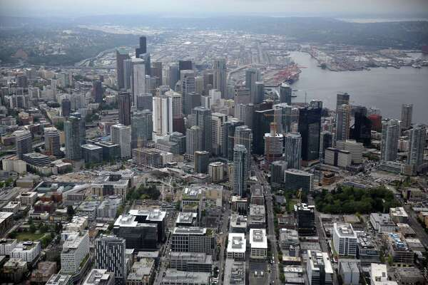 Downtown Seattle is seen from the CoStar Group slow-speed research plane, May 31, 2018.