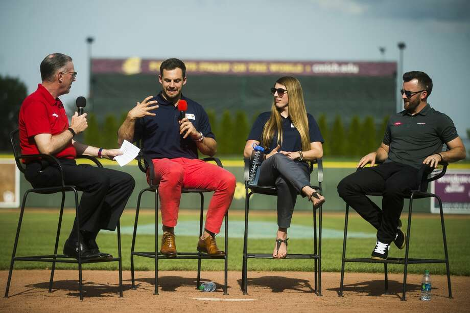 From left, Jim Fitterling, chief executive officer-elect of Dow, Olympic medal winners Chris Mazdzer and Erin Hamlin, and Daytona 500 champion Austin Dillon, speak during the Science of Speed event on Thursday, June 7, 2018 at Dow Diamond. (Katy Kildee/kkildee@mdn.net) Photo: (Katy Kildee/kkildee@mdn.net)