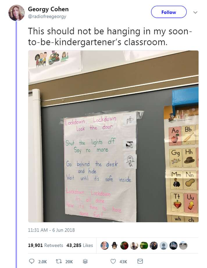 "A parent in Massachusetts shared a ""jarring"" photo of a lockdown nursery rhyme in her daughter's kindergarten classroom.>> See some of Twitter's reactions after Trump suggested arming teachers. Photo: Georgy Cohen Twitter"