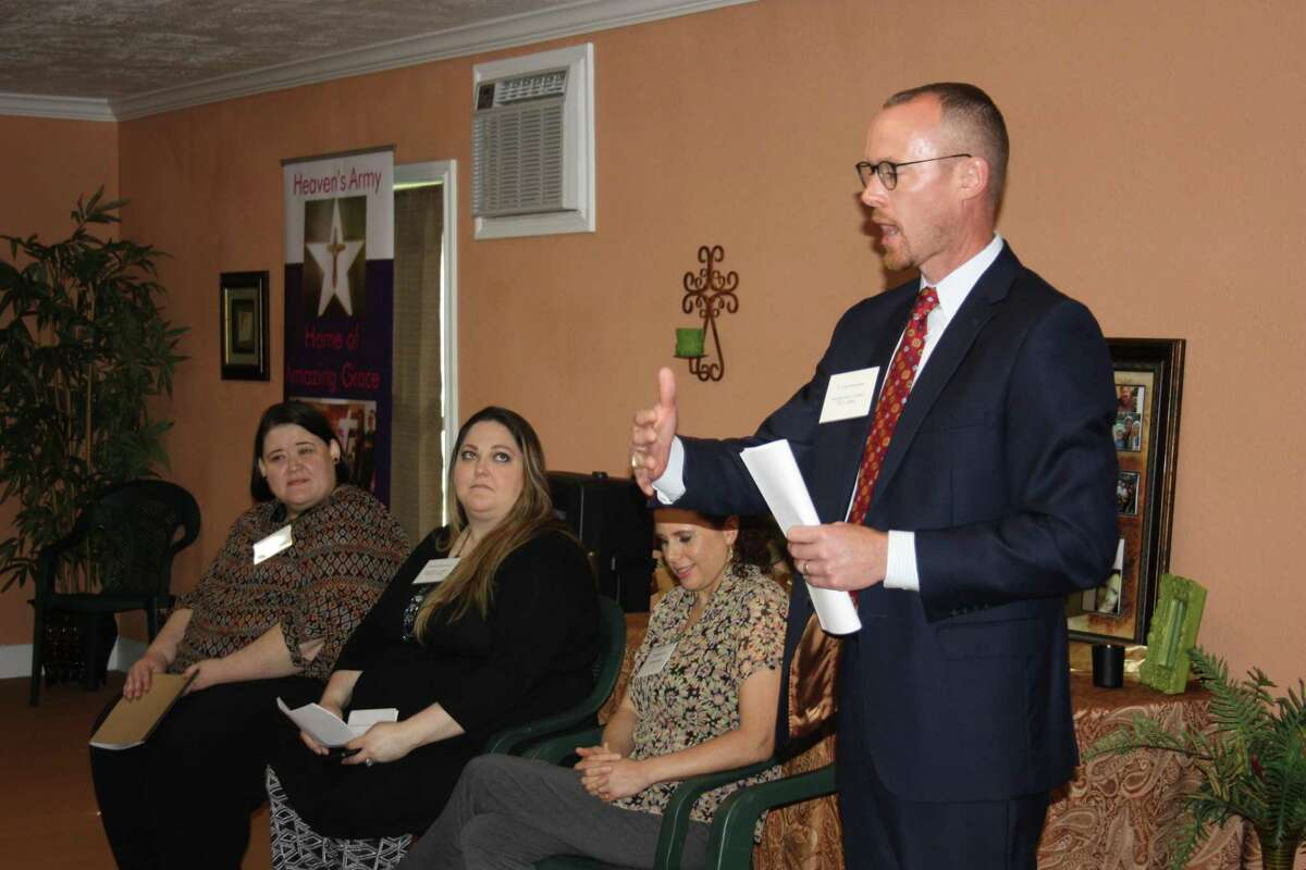 J. Tyler Dunnam, assistant district attorney for Montgomery County, explains at a May 23 gathering at Heaven's Army Home of Amazing Grace in Cleveland how an multi-jurisdictional alliance between the sheriff's office, DA's office and the Houston Police Department is proving to be effective in assisting victims and prosecuting perpetrators of human trafficking.