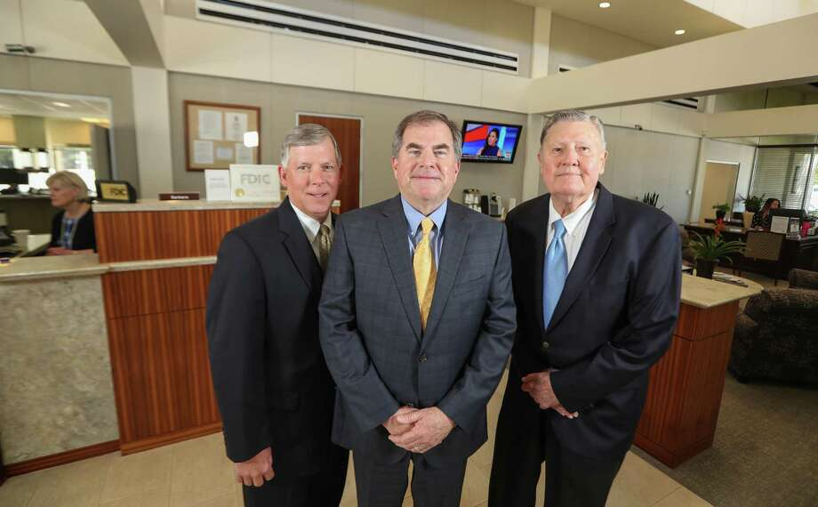 Rich Jochetz, president, (l-r) Jimmy Brown, chief executive officer and Bob Greer, chairman of the board at Texas Gulf Bank Thursday, April 26, 2018, in Houston. ( Steve Gonzales / Houston Chronicle ) Photo: Steve Gonzales, Houston Chronicle / Houston Chronicle / © 2018 Houston Chronicle