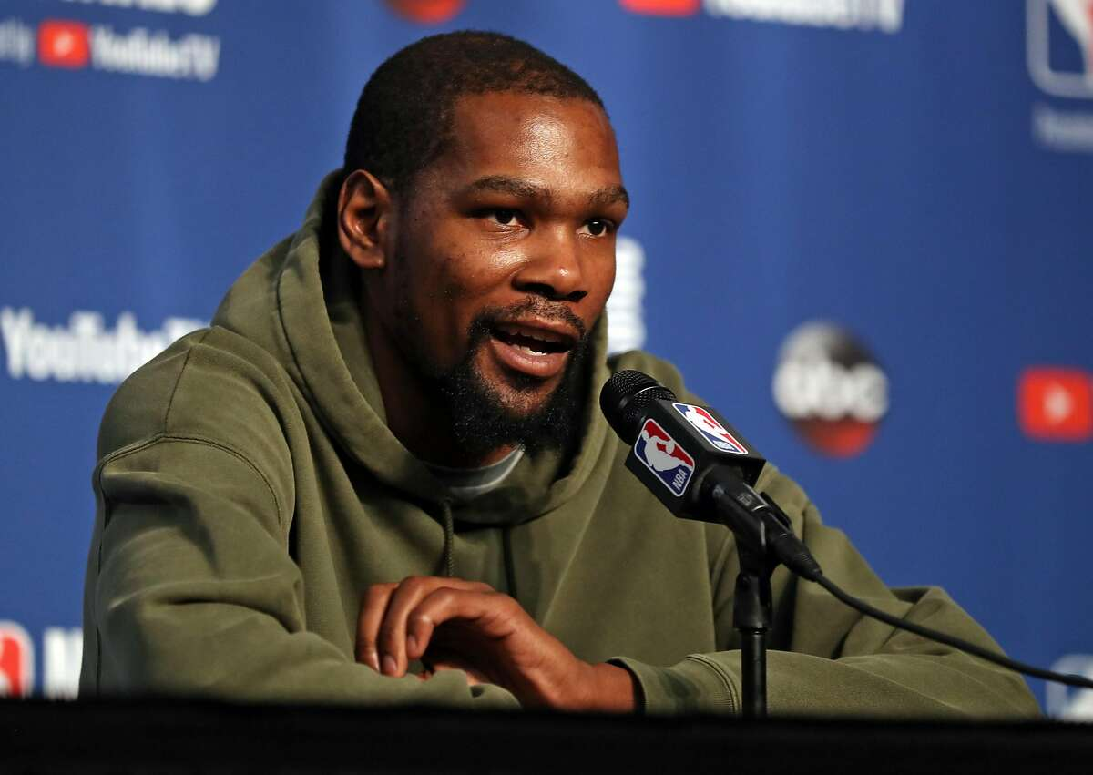 Golden State Warriors' Kevin Durant during press conference in advance of Game 4 of the NBA Finals at Quicken Loans Arena in Cleveland, OH on Thursday, June 7, 2018.