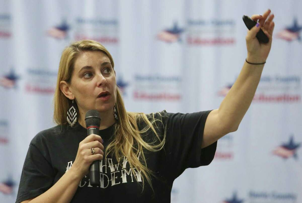 Sasha McLean, Executive Director for Archway Academy, talks during her active shooter training session at the Student Safety and Discipline Institute at the Harris County Department of Education building on Wednesday, June 6, 2018, in Houston. McLean taught how to actively respond to an active shooter situation to school officials from across the Houston area. ( Yi-Chin Lee / Houston Chronicle )