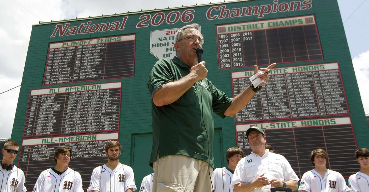 The Woodlands head coach Ron Eastman speaks as the community gathers to support the Highlanders baseball team as they head to Round Rock for the UIL state baseball tournament on Thursday, June 7, 2018, in The Woodlands.