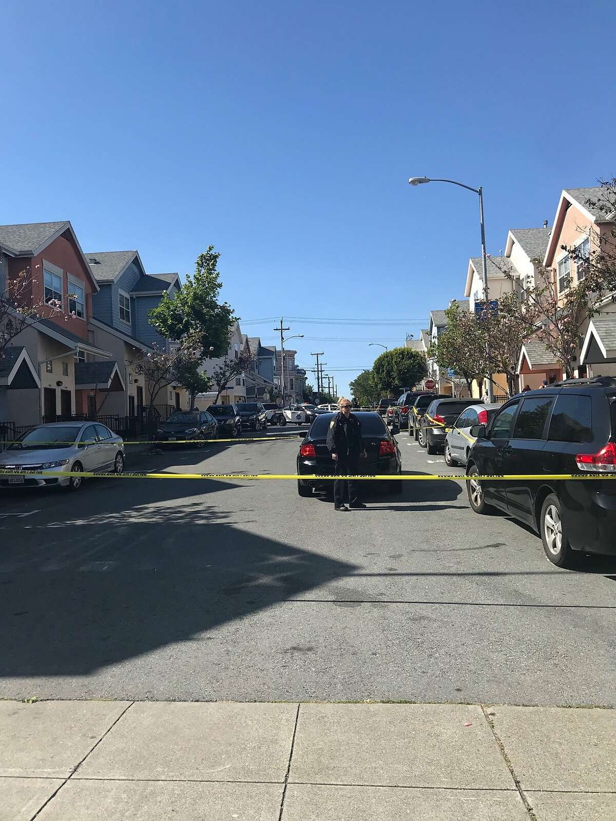 San Francisco police taped off Treat Avenue after police say someone shot two people here on June 7, 2018.