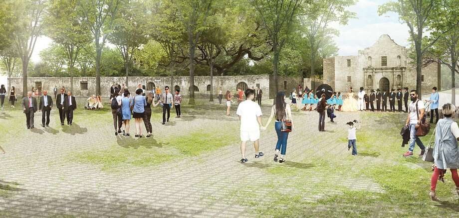 "Alamo Plaza rendering shows the ""open air museum,"" a unique rural concept withing the mission looking east. Photo: Reed Hilderbrand LLC"