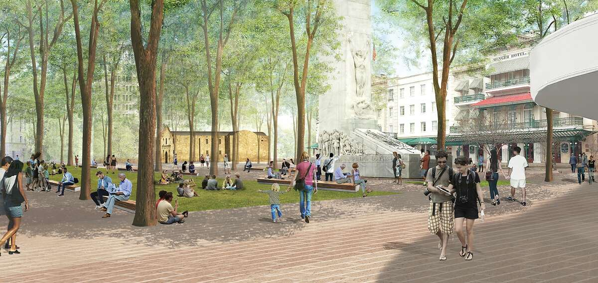 This rendering of a $450 million plan to overhaul Alamo Plaza depicts shaded area where visitors can gathering near the south entrance.